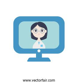 doctor online on computer monitor icon, flat style