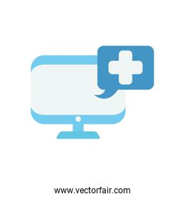 computer with speech bubble with medical cross icon, flat style