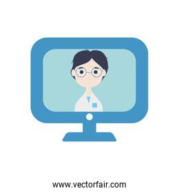health online concept, computer with doctor online on screen icon, flat style
