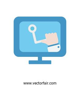 health online concept, computer with doctor hand on screen icon, flat style