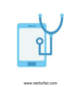 smartphone and stethoscope icon, flat style