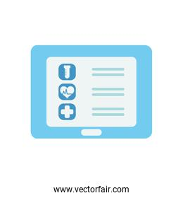 doctor online concept, tablet with medical report on screen icon, flat style
