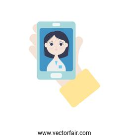 hand holding a smartphone with doctor online on screen, flat style
