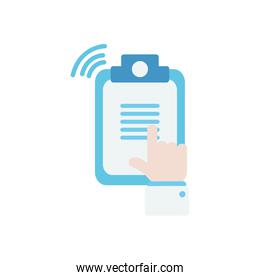 doctor online concept, hand pointing a medical report icon, flat style