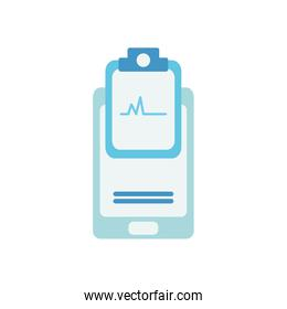 health online concept, smartphone and medical report icon, flat style