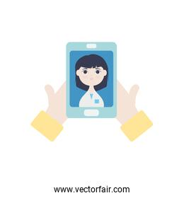 hands with smartphone with doctor on screen icon, flat style