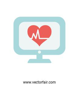 computer with cardio heart icon on screen, flat style