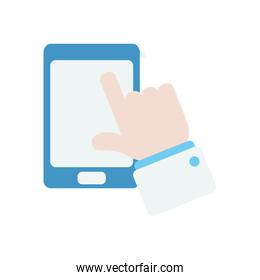 smartphone and doctor hand icon, flat style