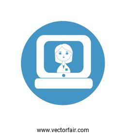 laptop computer with doctor woman icon on screen, block style