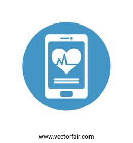 health online concept, smartphone with cardio heart on screen icon, block style