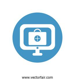 computer with first aid kit icon on screen icon, block style