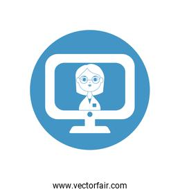 doctor online on computer monitor icon, block style
