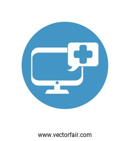 computer with speech bubble with medical cross icon, block style