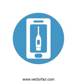 health online concept, smartphone with thermoter icon on screen, block style