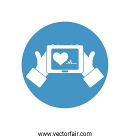 hands holding a tablet with cardio heart on screen icon, block style
