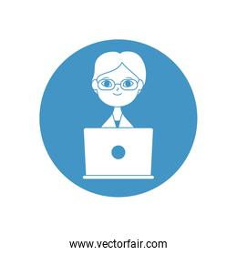 doctor online concept, cartoon doctor with laptop computer icon, block style