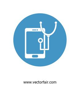 smartphone and stethoscope icon, block style
