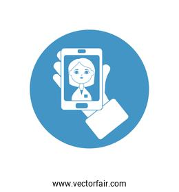hand holding a smartphone with doctor online on screen, block style