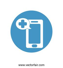 smartphone with speech bubble with medical cross icon, block style