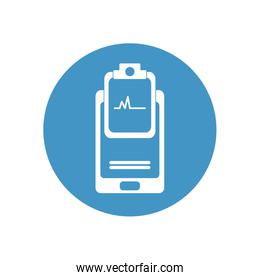 health online concept, smartphone and medical report icon, block style
