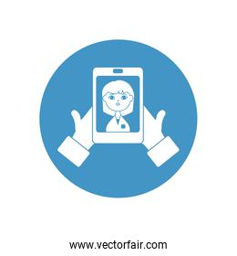 hands with smartphone with doctor on screen icon, block style