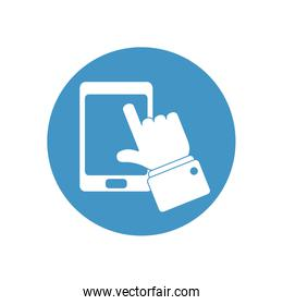 smartphone and doctor hand icon, block style