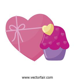 Isolated heart gift and cupcake vector design