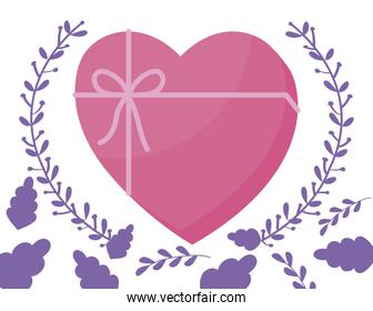 Isolated heart gift and leaves wreath vector design
