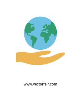 hands with world planet earth