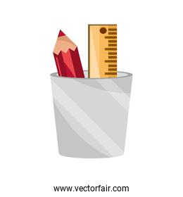 pencil and ruler in cup supply study school education isolated icon