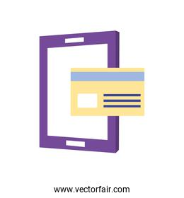 payments online   tablet with credit card icon, flat style