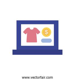 payments online concept, laptop computer with tshirt and money coin icons on screen, flat style