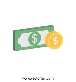 money bill and coin icon, flat style
