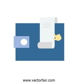 wallet and invoice icon, flat style