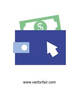 wallet with money bill icon, flat style