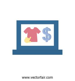 payments online concept, laptop computer with tshirt and money symbol icon, flat style