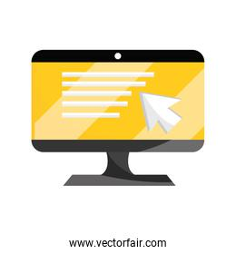 computer monitor technology online education isolated icon shadow