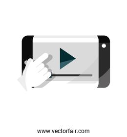 smartphone hand clicking video online education isolated icon shadow