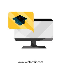 computer graduation hat technology online education isolated icon shadow