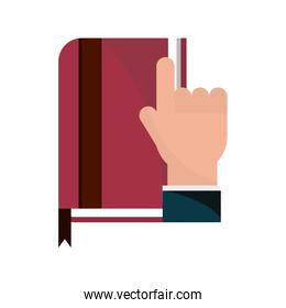 hand with book literature online education isolated icon shadow