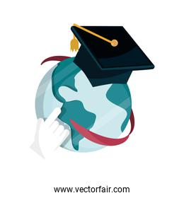 world graduation hat online education isolated icon shadow