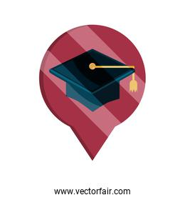 graduation hat pointer location online education isolated icon shadow