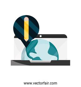 laptop world virtual pencil online education isolated icon shadow