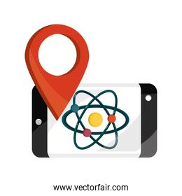 smartphone chemistry molecule online education isolated icon shadow