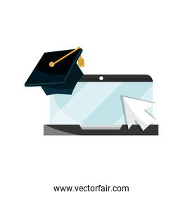 laptop click graduation hat school online education isolated icon shadow