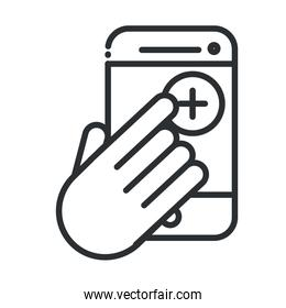 online health, smartphone hand click medical app covid 19 pandemic line icon