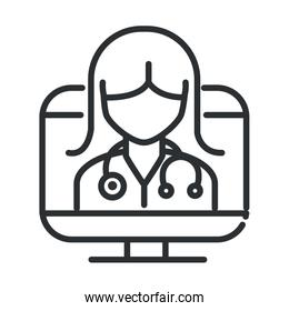 online health, female doctor with stethoscope in computer covid 19 pandemic line icon