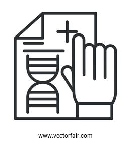 online health, hand with medical report diagnostic covid 19 pandemic line icon