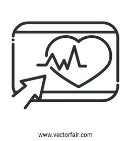 online health, website clicking heartbeat covid 19 pandemic line icon