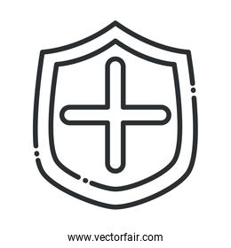 online health, shield protection medical covid 19 pandemic line icon